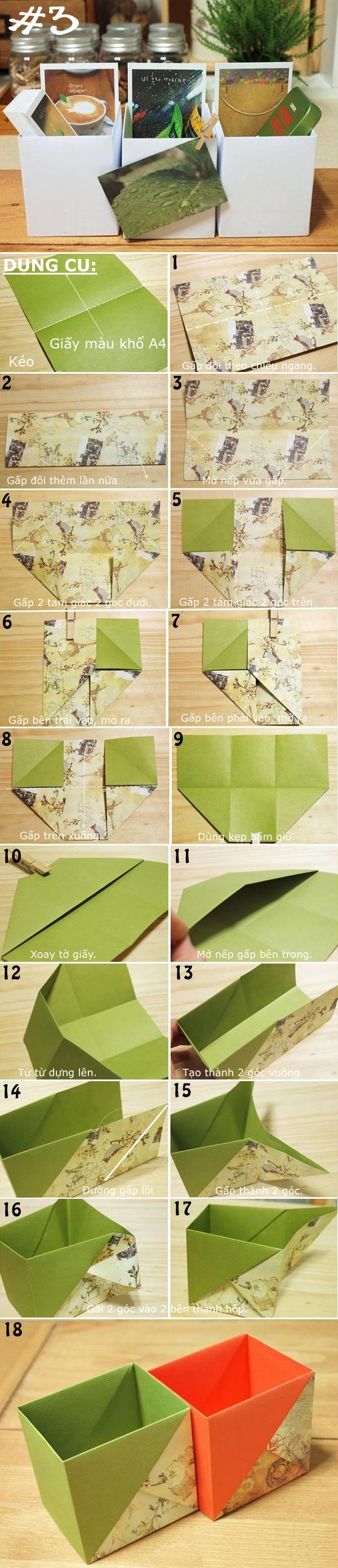 Gấp giấy thành đủ kiểu hộp đựng đồ hữu ích 3