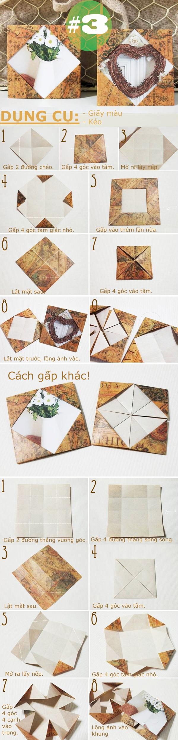 Các cách gấp khung ảnh bằng giấy cực hay 3