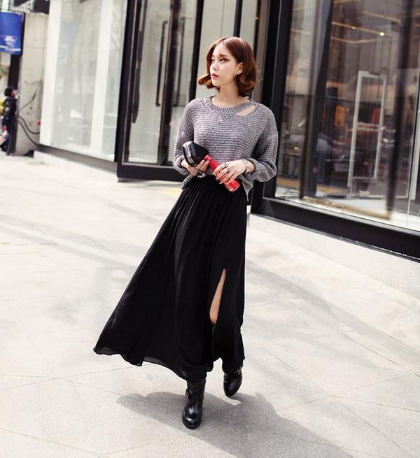 Chân váy maxi và áo len, bộ đôi hoàn hảo cho mùa đông
