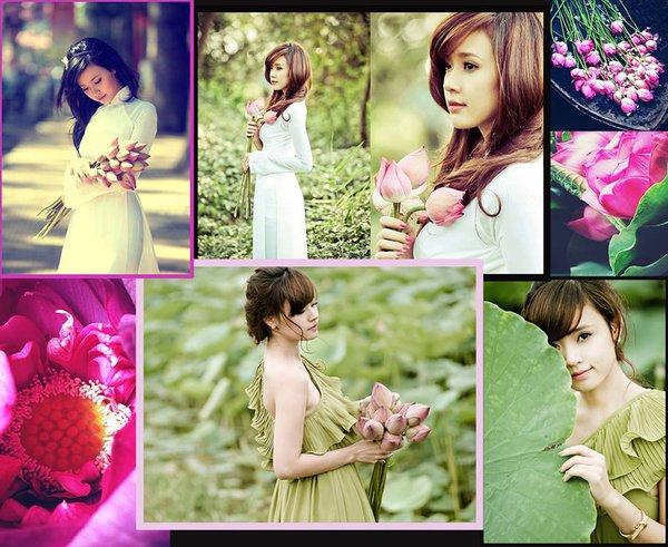 Muôn vẻ mỹ nhân Việt khoe sắc bên hoa sen 1