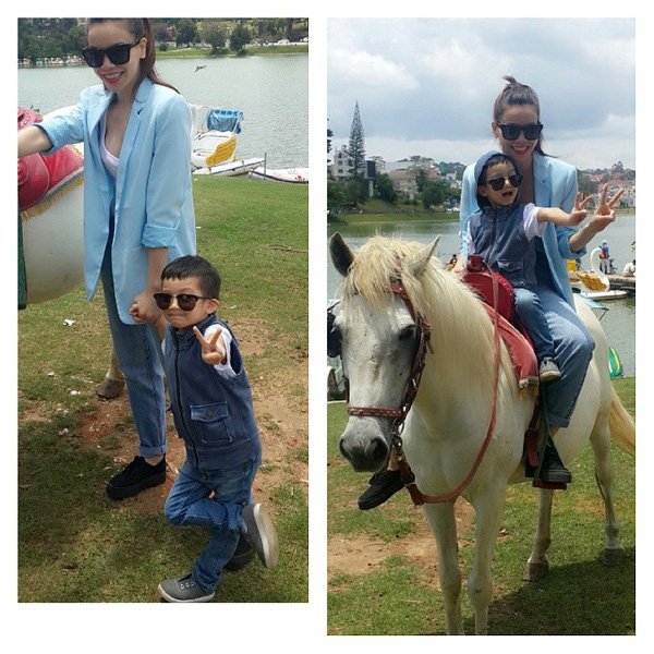 Tránh xa thị phi, Hồ Ngọc Hà dẫn Subeo đi cưỡi ngựa ở Đà Lạt 2
