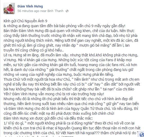 Đàm Vĩnh Hưng ám chỉ nhạc sĩ Nguyễn Ánh 9 là ngụy quân tử 1
