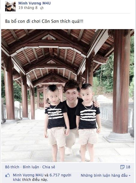 Minh Vương (M4U) khoe 2 con trai nuôi song sinh 1