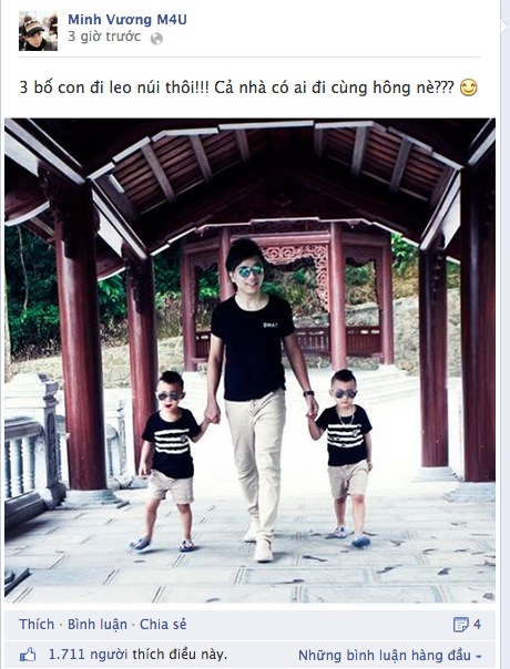 Minh Vương (M4U) khoe 2 con trai nuôi song sinh 3