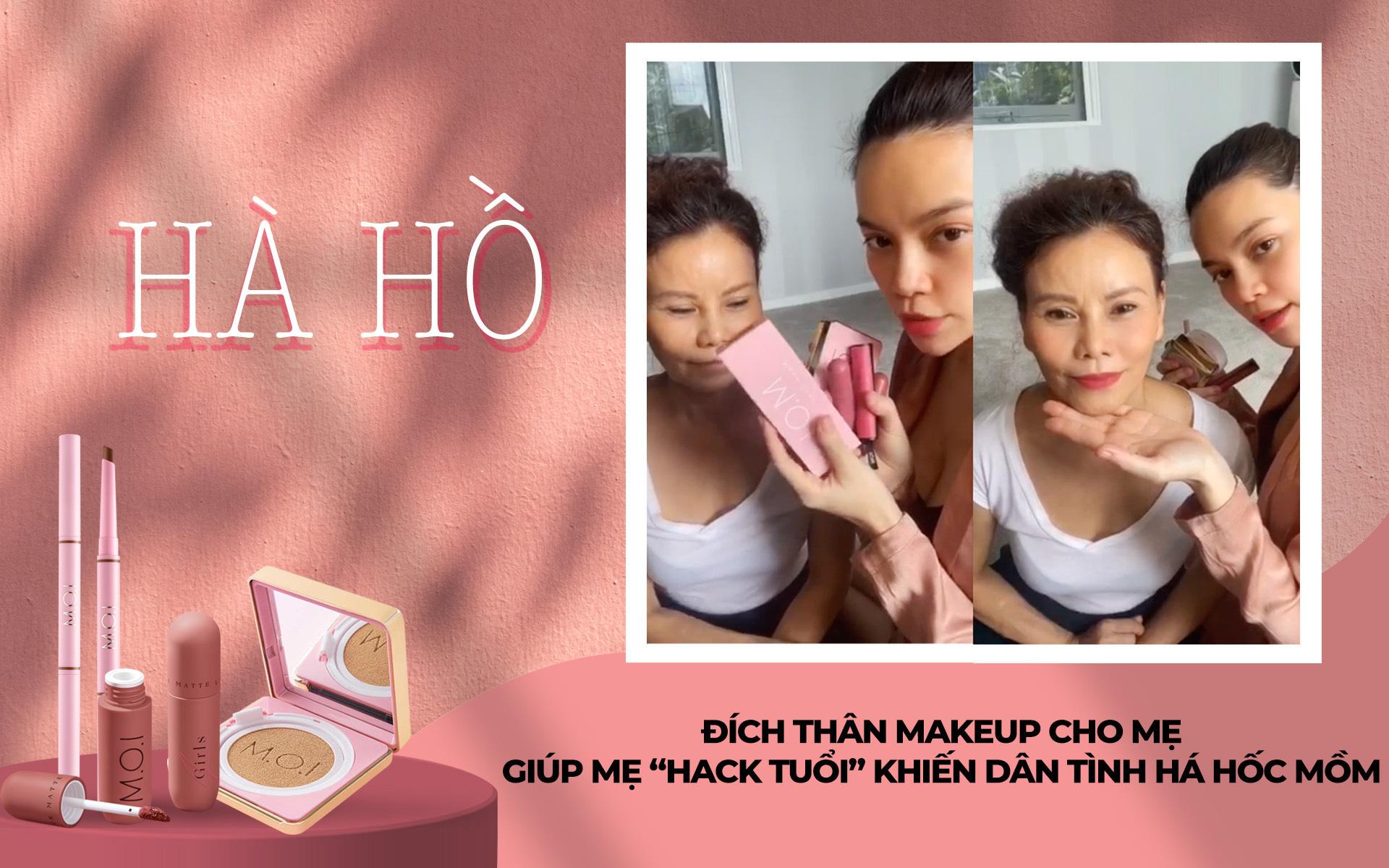 """Hà Hồ đích thân makeup cho mẹ, giúp mẹ """"hack tuổi"""" khiến dân tình há hốc mồm"""