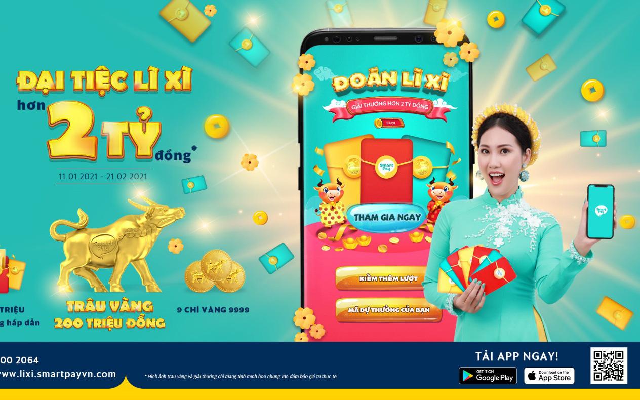 """""""Đại tiệc lì xì - Trúng hơn 2 tỷ"""" đã chính thức diễn ra trên Ví điện tử SmartPay, tham gia ngay thôi!"""