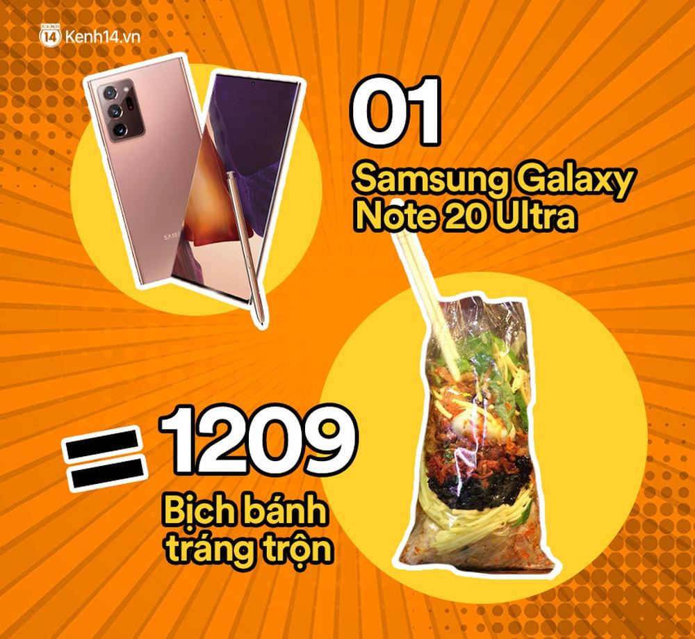 Một chiếc Samsung Galaxy Note20 Ultra vừa ra mắt sẽ đổi được bao nhiêu cốc trà sữa, bao nhiêu bịch bánh tráng trộn? - Ảnh 2.