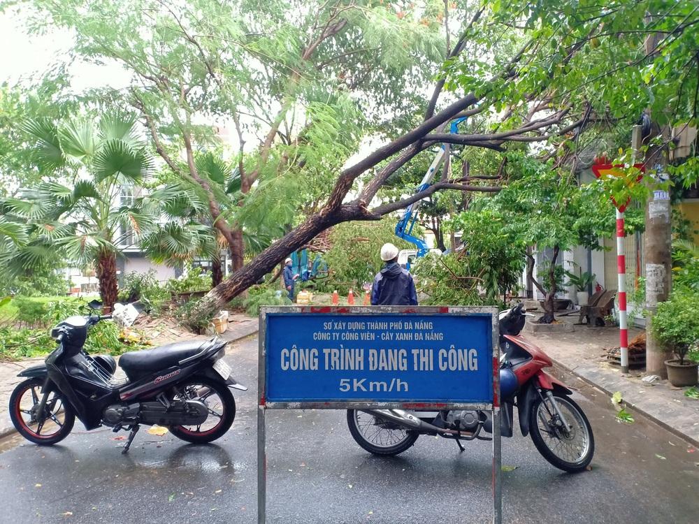 Đà Nẵng trong bão số 5: Mưa to kèm sấm chớp, nhiều tuyến đường ngập nước, cây đổ, cột điện gãy - Ảnh 16.