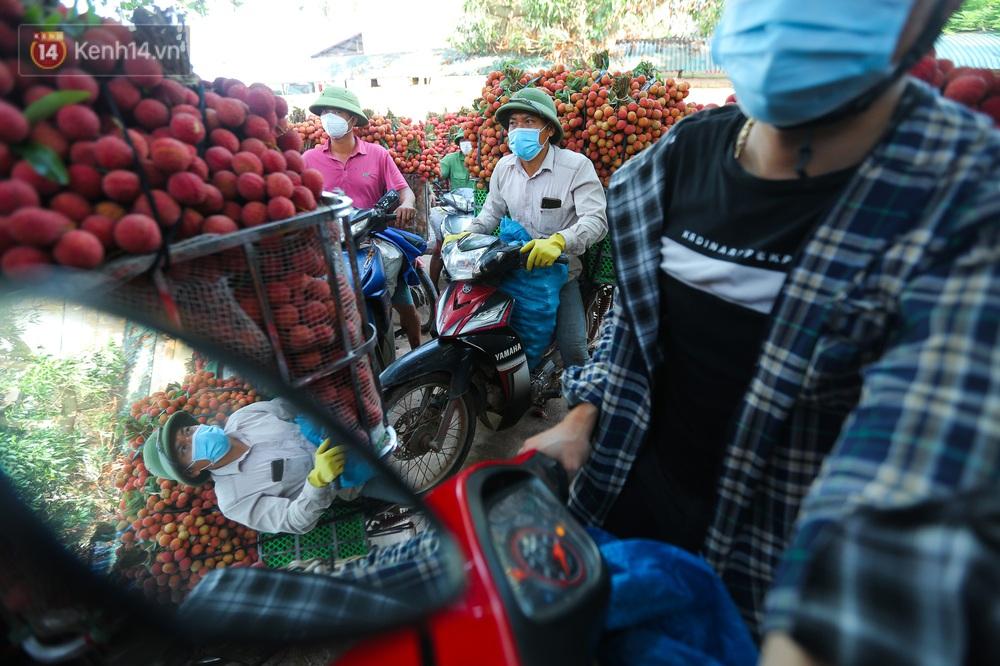 Ảnh: Nông dân Bắc Giang nối đuôi nhau chở vải thiều ra chợ, đường quê đỏ rực một màu - Ảnh 3.