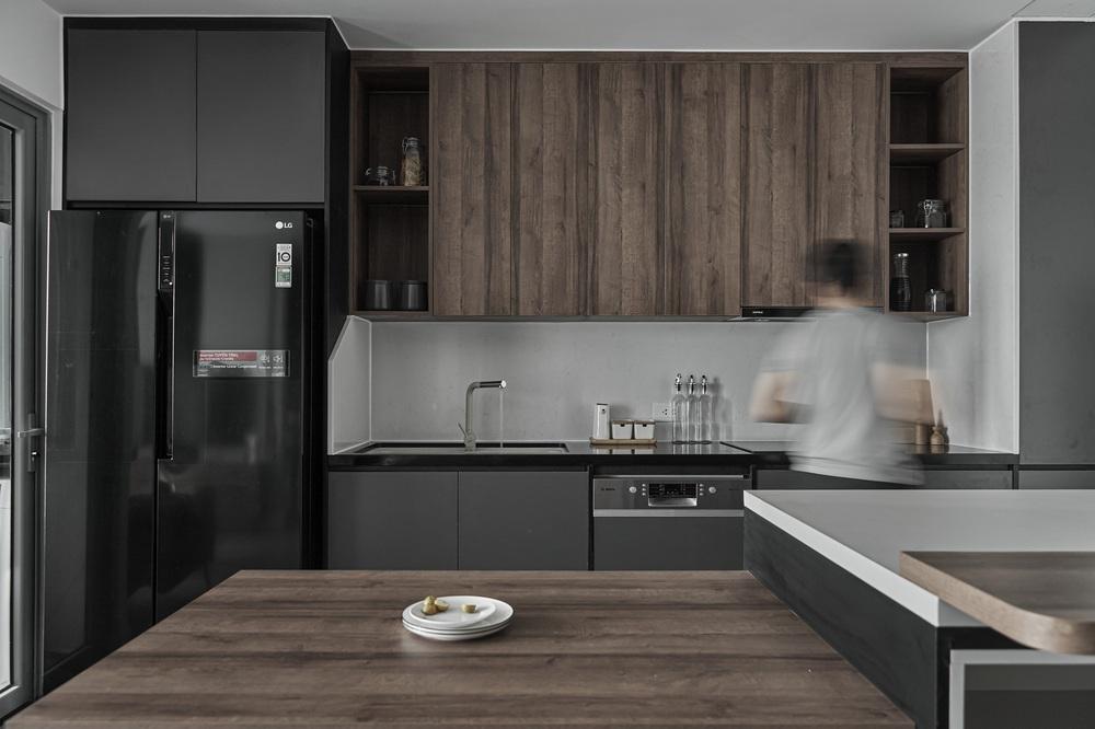 Vợ chồng trẻ mua căn hộ 76m2, chọn màu bê tông sắc lạnh nhìn chất như phim - Ảnh 6.