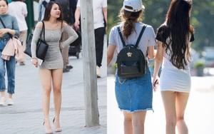 Giật thon thót trước những pha diện váy siêu ngắn của các chị em, có người lộ nội y, phô hẳn vòng 3 giữa phố