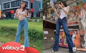 Quần jeans trên ôm dưới loe tôn chân cực khéo, chẳng trách chị em cứ diện suốt, chụp hình là đẹp mê
