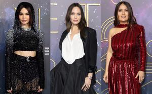 """3 minh tinh đại náo thảm xanh Eternals: Angelina Jolie như trùm chăn, mỹ nhân Con Nhà Siêu Giàu """"chặt chém"""" cả bom sex ngực khủng"""