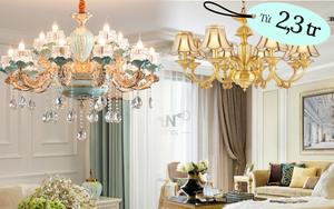 Từ 2 triệu sắm đèn chùm trang trí cho phòng khách thêm lung linh
