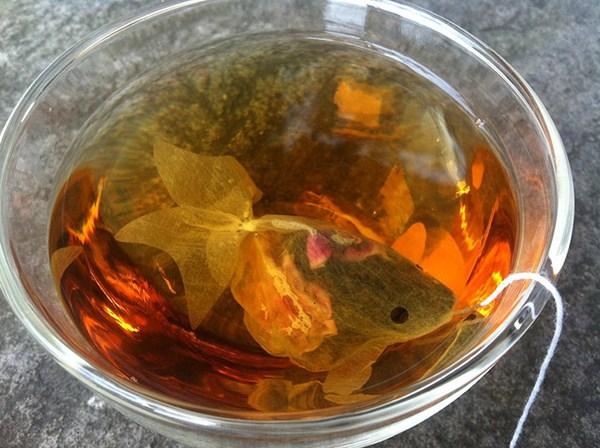 Trà túi lọc hóa thân thành cá vàng bơi lội tung tăng trong tách - Ảnh 1.