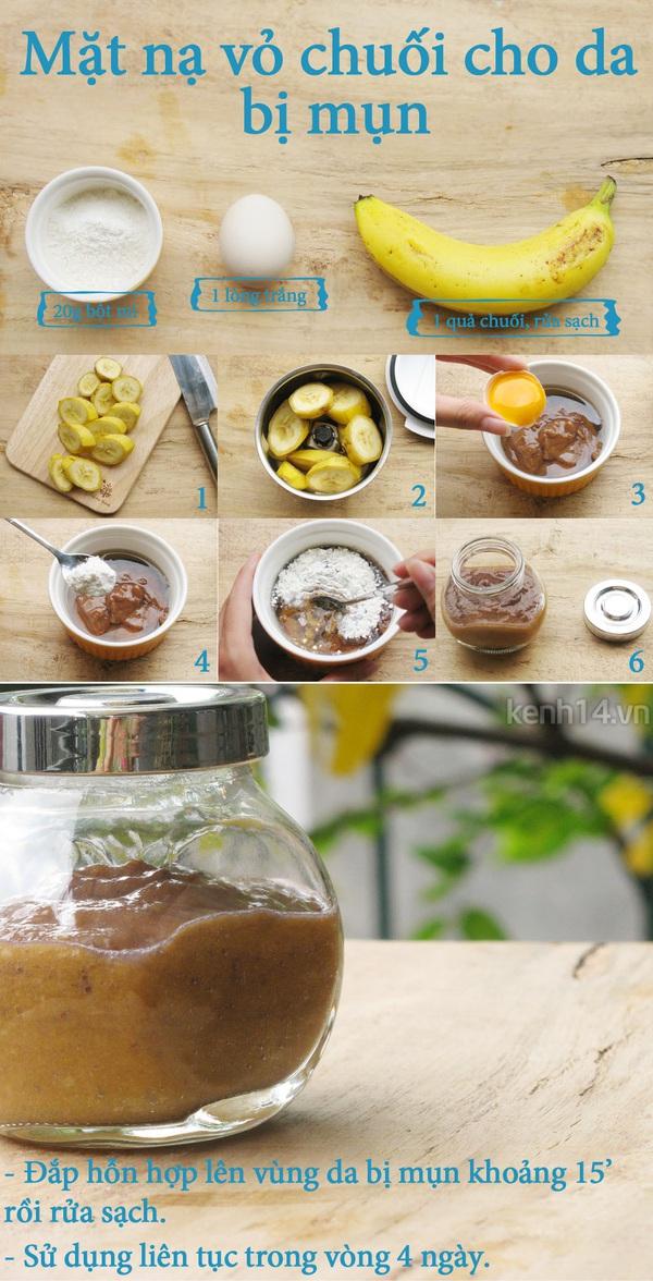 Trị mụn sạch sẽ sau 4 ngày với vỏ chuối 1