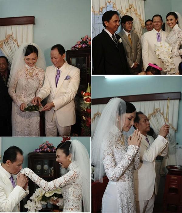 Những cô dâu của showbiz Việt diện áo dài trong ngày cưới hỏi 16