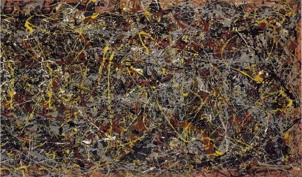 Đây là một bức tranh được vẽ theo phong cách drip painting (Sử dụng các xô  chứa màu vẽ để dội lên bức tranh được đặt thẳng đứng).