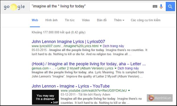 Trên Google, khi bạn đặt cụm từ khóa tìm kiếm trong một dấu ngoặc kép cùng  một dấu * để đại diện cho từ còn thiếu, Google sẽ hiển thị trang chứa ...
