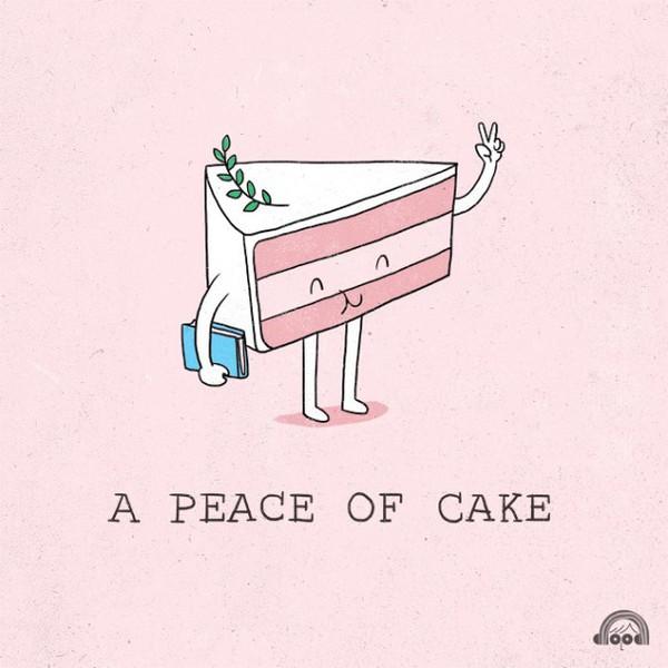 """Swee đã chơi chữ từ """"peace"""" (yên bình) với """"piece"""" (miếng) để tạo ra hình  ảnh """"em bánh"""" tươi vui, hào hứng cắp sách đi học."""