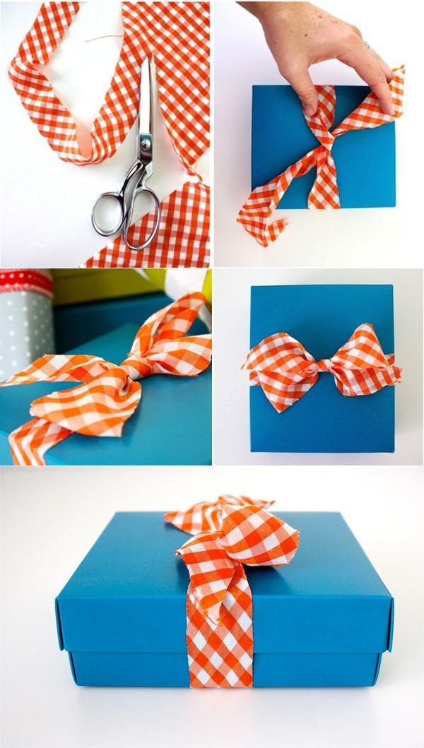 Học nhanh cách thắt nơ hộp quà với dây vải 1