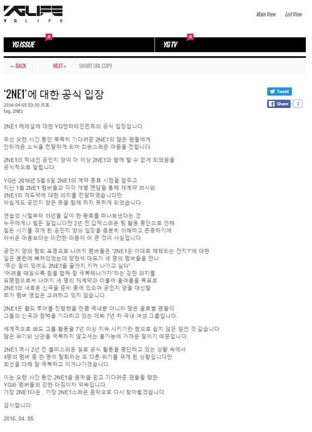 Minzy chính thức rời nhóm, 2NE1 tiếp tục với 3 thành viên - Ảnh 2.