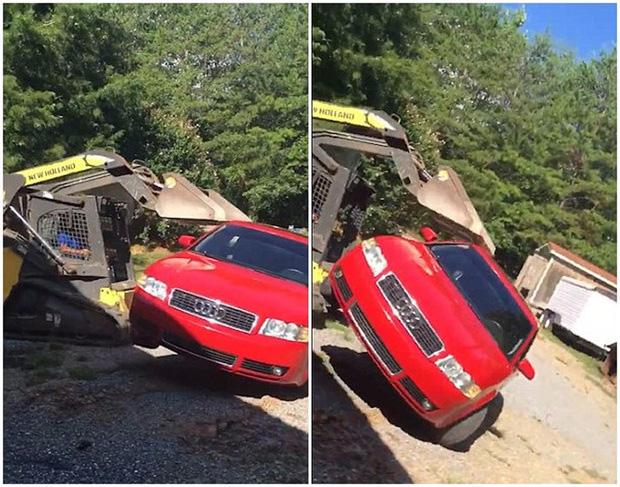 Giận con gái lén hẹn bạn trai trong xe ô tô, bố dùng xe xúc đất phá nát chiếc Audi đắt tiền - Ảnh 4.