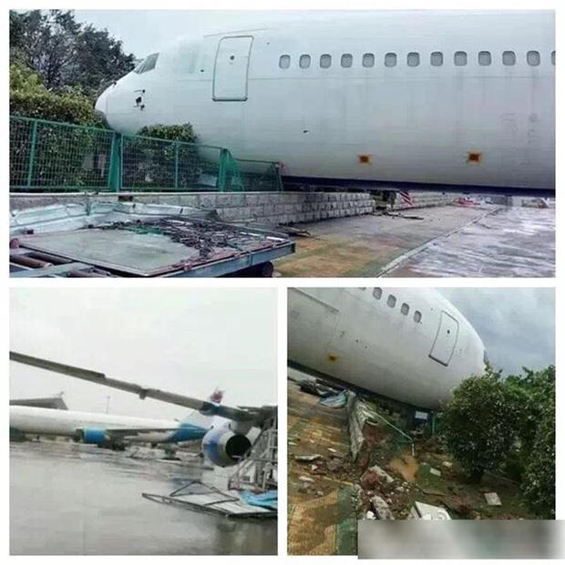 Máy bay Boeing 767 bị siêu bão thổi bay khỏi đường băng - Ảnh 1.