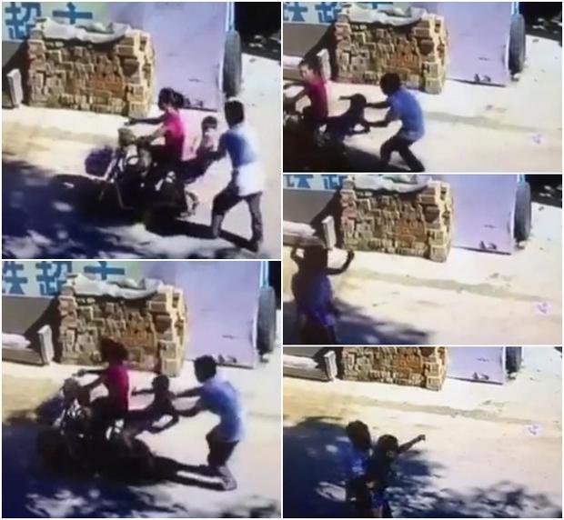 Đang ngồi sau xe mẹ, em bé bị gã đàn ông cướp mất như chốn không người - Ảnh 2.