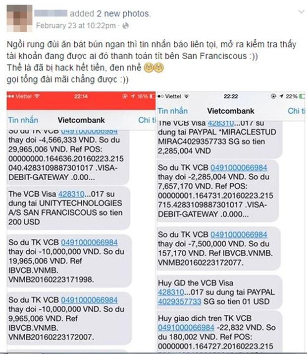 Khách nữ nghi bị hacker trộm sạch 2.000 USD trong tài khoản, Vietcombank nói gì? - Ảnh 1.