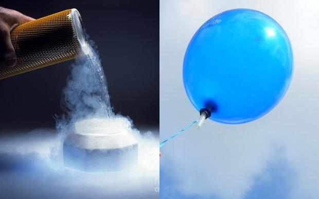 Bất ngờ với phản ứng khi đổ Nitơ lỏng vào trong quả bóng bay - Ảnh 1.