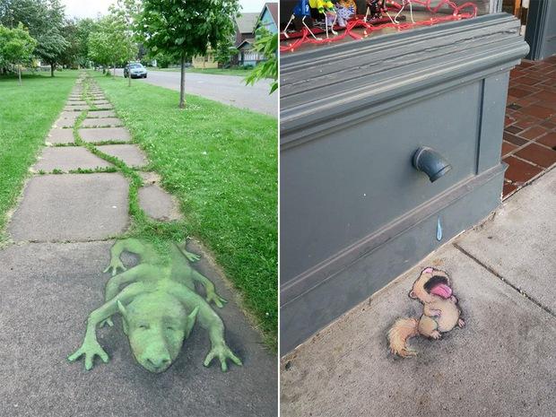 Phòng tranh nghệ thuật đường phố đầy sáng tạo của họa sĩ David Zinn - Ảnh 2.