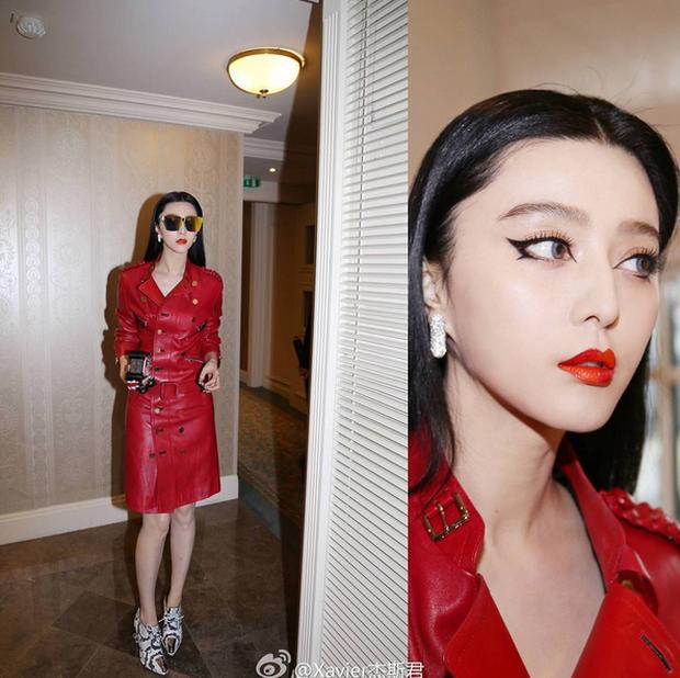 Phạm Băng Băng mặc đồ đỏ chót, kẻ mắt sắc lẹm dự show Louis Vuitton - Ảnh 1.