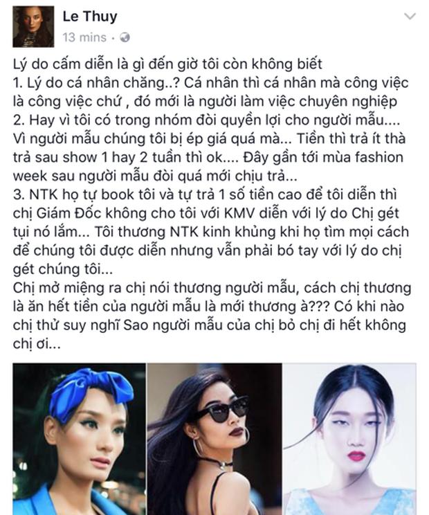 Tiết lộ sốc: Loạt mẫu Hoàng Thùy, Lê Thúy, Kha Mỹ Vân... bị chính ekip Vietnam International Fashion Week cấm diễn? - Ảnh 5.