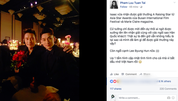 Isaac khoe ảnh dự tiệc cùng Lee Byung Hun, bất ngờ khi nhận giải thưởng từ LHP Busan - Ảnh 1.