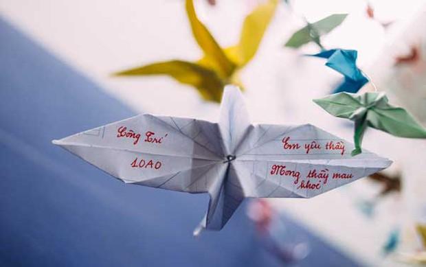 Trường Lương Thế Vinh đẹp như cổ tích với hàng nghìn con hạc giấy gửi đến thầy Văn Như Cương - Ảnh 1.
