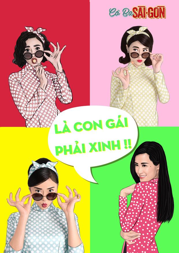 Hết tuyên truyền nữ quyền, các mỹ nhân Cô Ba Sài Gòn lại nhí nhảnh với phong cách pop-art - Ảnh 1.
