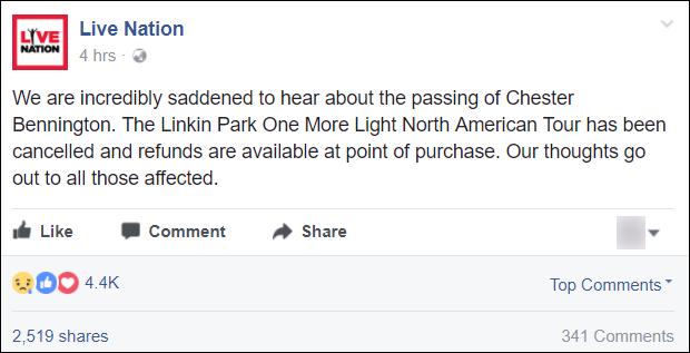 Linkin Park thông báo hủy tour sau cái chết của Chester Bennington - Ảnh 1.