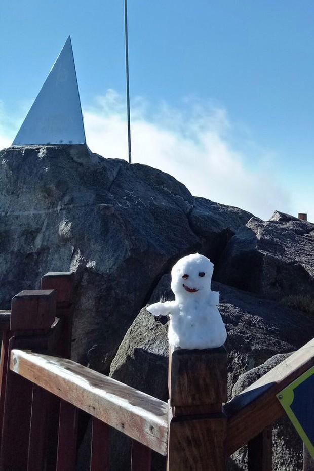 Sương muối trắng xóa đỉnh Fansipan, nhiều em nhỏ và du khách thích thú gom lại đắp thành người tuyết - Ảnh 6.