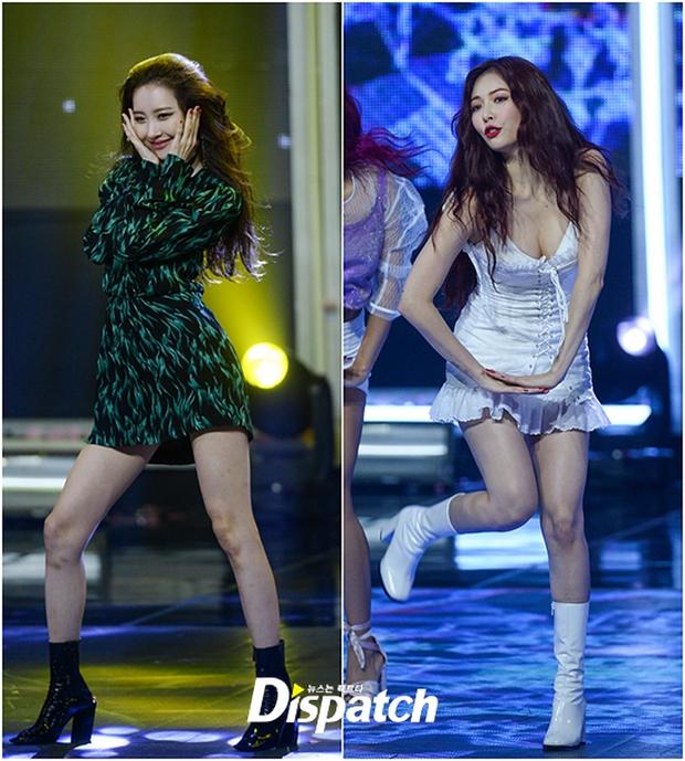 2 biểu tượng sexy bất ngờ đụng độ: Sunmi chân dài miên man hay Hyuna khoe vòng 1 gợi cảm trội hơn? - Ảnh 1.