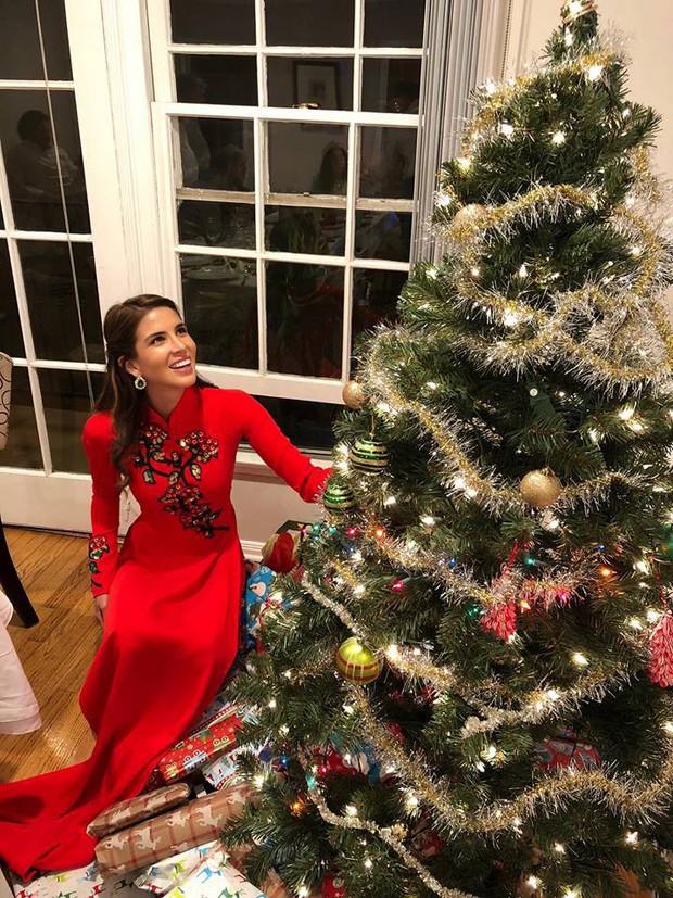 Hoa hậu Hòa bình Quốc tế 2017 người Peru bất ngờ diện áo dài Việt Nam để đón Giáng Sinh - Ảnh 2.