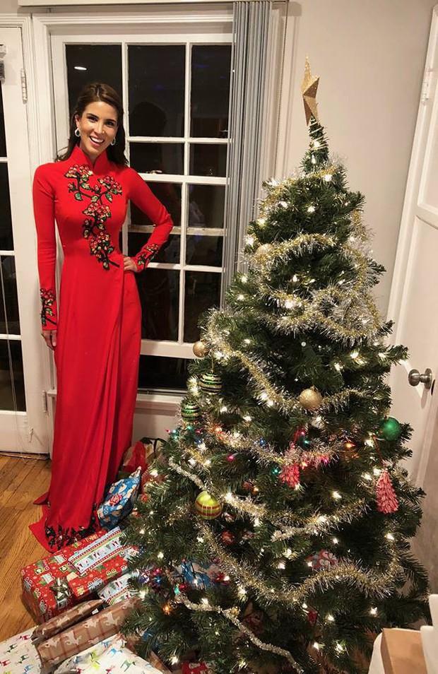 Hoa hậu Hòa bình Quốc tế 2017 người Peru bất ngờ diện áo dài Việt Nam để đón Giáng Sinh - Ảnh 1.
