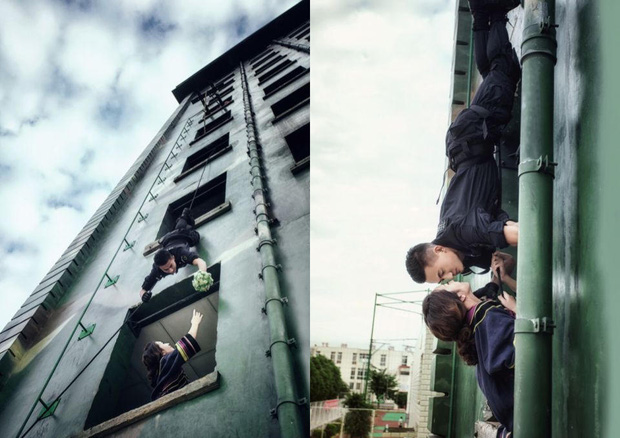 Không có thời gian ra ngoài, chàng cảnh sát đặc nhiệm điển trai đưa hôn thê vào khu huấn luyện chụp ảnh cưới - Ảnh 4.