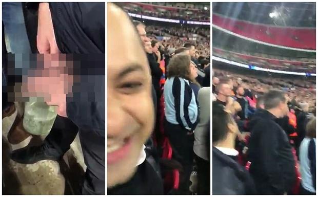 Sốc: CĐV Tottenham tè vào chai, ném sang người hâm mộ đối phương - Ảnh 1.