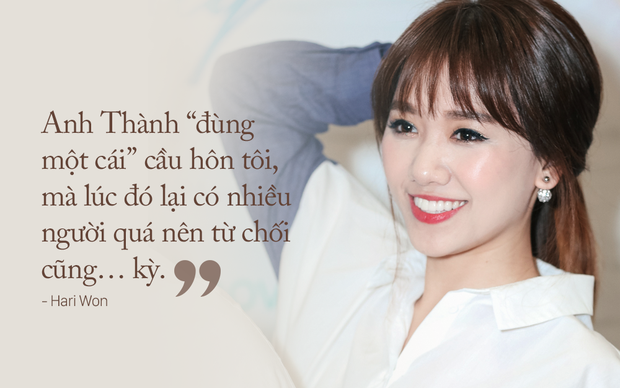 Hari Won: Anh Thành đùng một cái cầu hôn, mà lúc đó có nhiều người quá, mình từ chối cũng… kỳ - Ảnh 1.