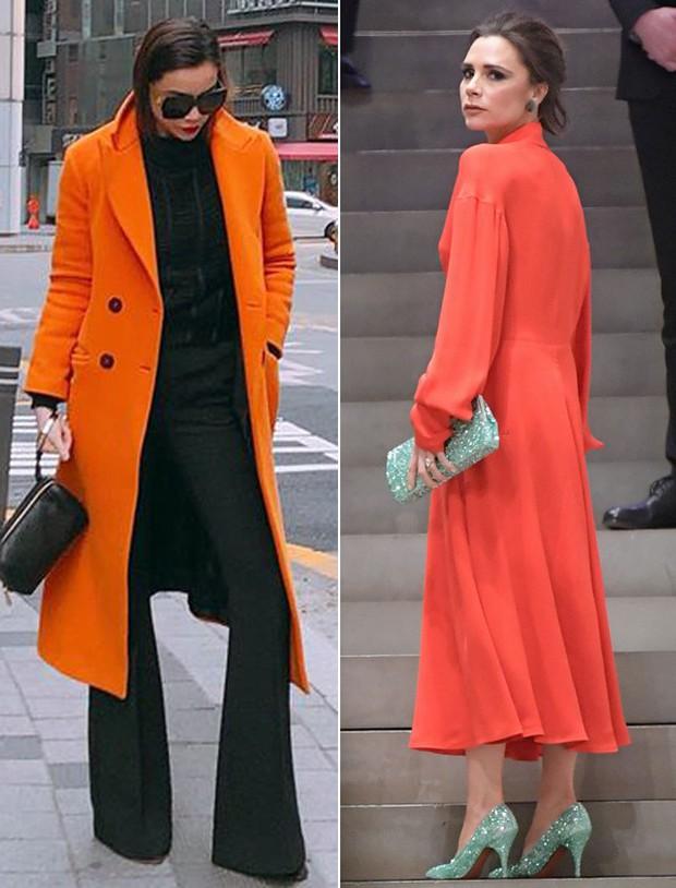 Mặc đồ cam chói lói cả góc phố, Hà Hồ không ngờ mình tâm đầu ý hợp với Victoria Beckham - Ảnh 3.