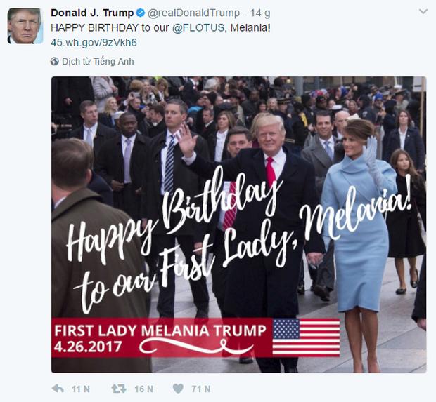 Tổng thống Donald Trump chúc mừng sinh nhật Đệ nhất phu nhân trên Twitter - Ảnh 1.