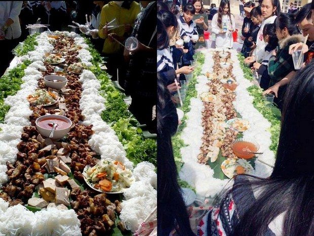 Chưa từng có: Tiệc tất niên với suất bún chả dài... 6 mét của học sinh Bắc Giang - Ảnh 2.