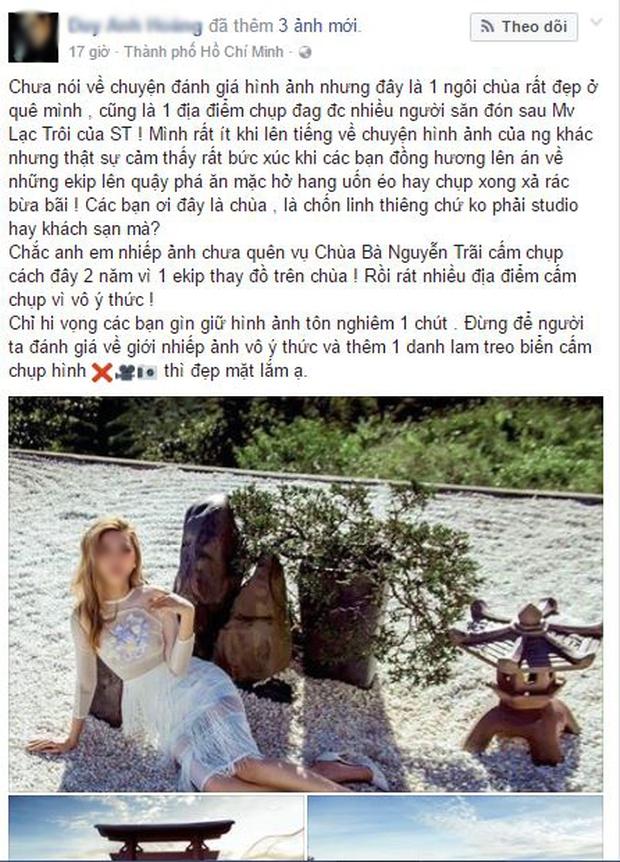 Hình ảnh phản cảm của cô gái ăn mặc hở hang, chụp ảnh uốn éo tại ngôi chùa quay MV Lạc Trôi - Ảnh 1.