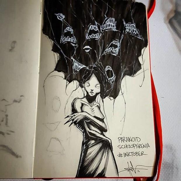 Minh họa đáng sợ về 9 chứng bệnh tâm lý khủng khiếp nhất ở con người - Ảnh 8.